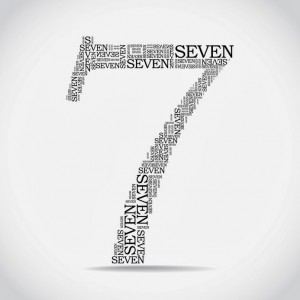 number seven created from text - illustration
