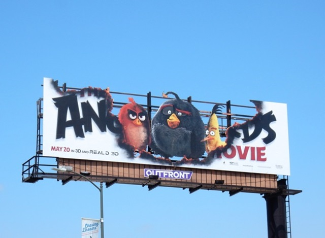 Angry birds movie cutout billboard