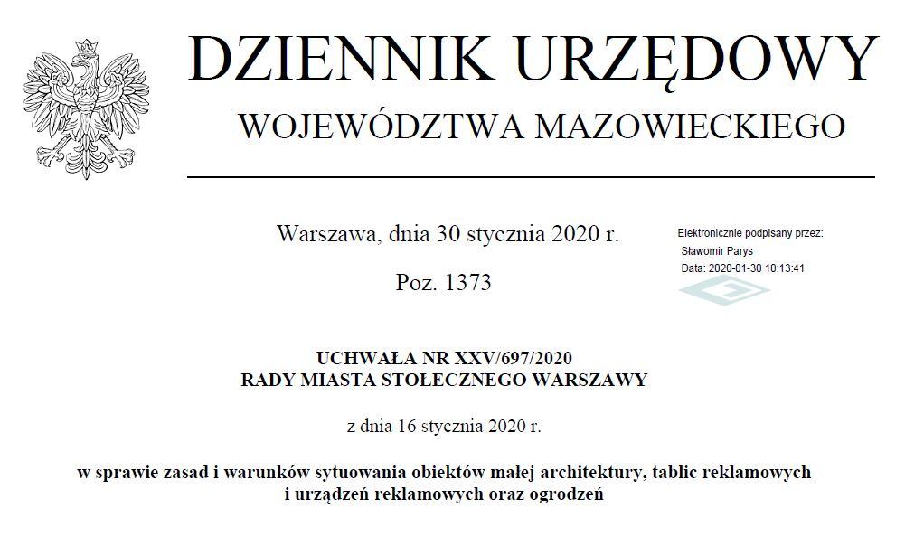 Uchwała krajobrazowa w Warszawie