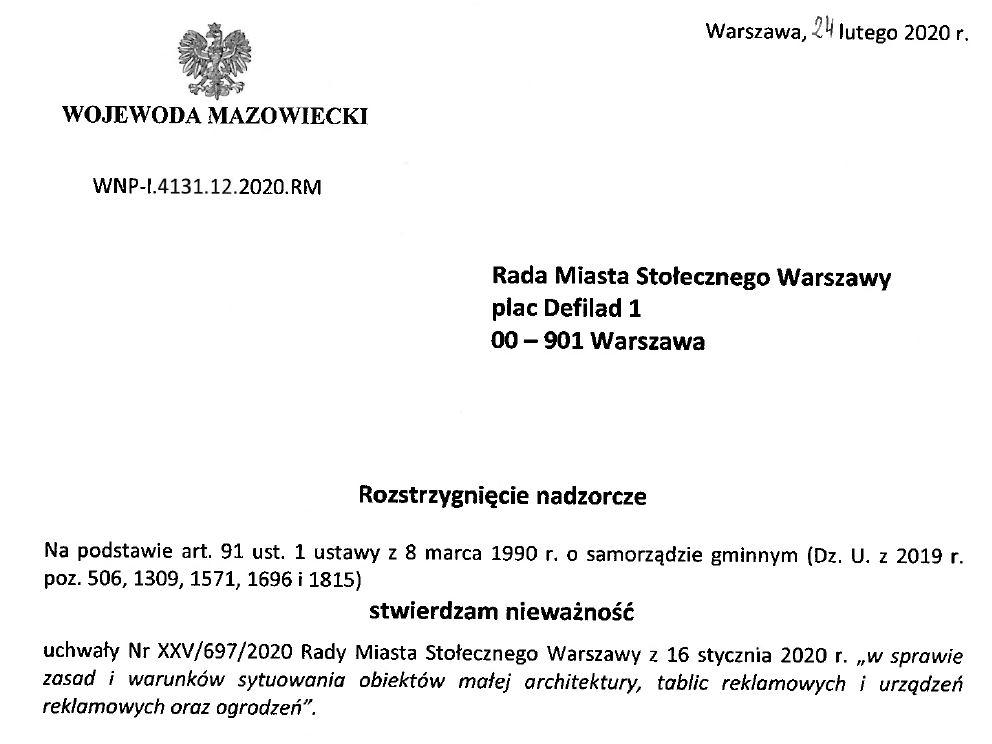 Uchwała krajobrazowa w Warszawie została unieważniona