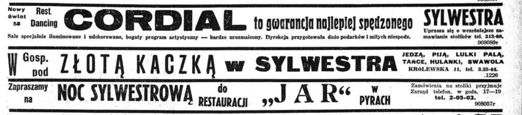 sylwester w Warszawie międzywojennej